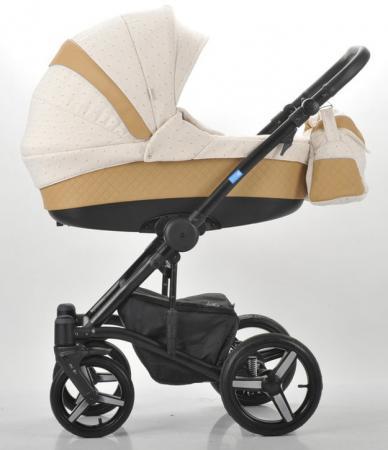 Коляска 2-в-1 Mr Sandman West-East Premium (50% кожа/темно-бежевый перфорированный - бежевый в принт/СН07) коляска mr sandman guardian 2 в 1 графит серый kmsg 043601