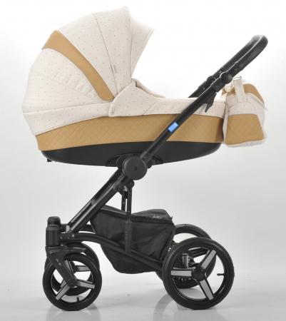 Коляска 3-в-1 Mr Sandman West-East Premium (50% кожа/темно-бежевый перфорированный - бежевый в принт/CH07) коляска mr sandman guardian 2 в 1 графит серый kmsg 043601