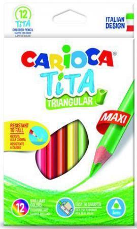 Набор цветных карандашей CARIOCA TITA MAXI 42789 12 шт набор цветных карандашей universal carioca 24 шт 17 5 см односторонние 40381 точилка 40381