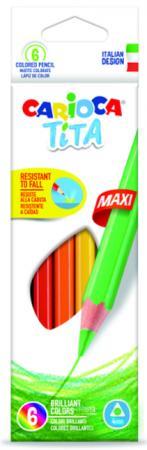 Набор цветных карандашей CARIOCA TITA MAXI 42788 6 шт набор цветных карандашей universal carioca 24 шт 17 5 см односторонние 40381 точилка 40381
