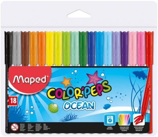 Набор фломастеров Maped Color Peps Ocean 2 мм 18 шт разноцветный 845721 maped карандаши цветные color peps треугольные 12 цветов maped