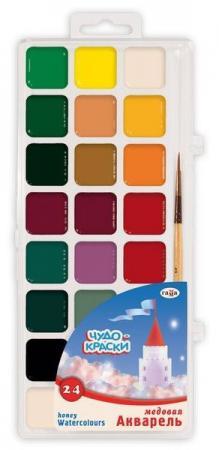 Акварель Гамма Чудо-краски 24 цвета с кистью акварель гамма лицей maxi 12 цв пл коробка с кистью