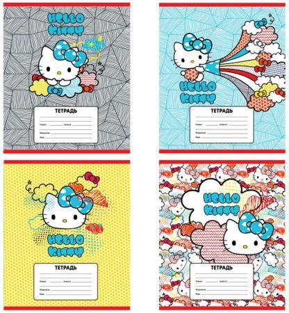 Тетрадь школьная Action! Hello Kitty 12 листов линейка скрепка HKO-AN-1201/1-3