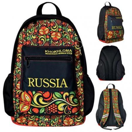 Школьный рюкзак светоотражающие материалы Action! Russia Khokhloma черный рисунок AB11105