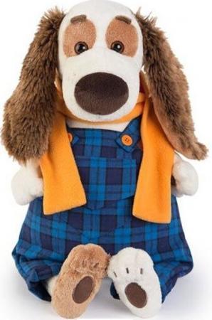 Мягкая игрушка собака BUDI BASA Бартоломей в синем комбинезоне 27 см белый искусственный мех Bart27-003 budi basa мягкая игрушка арнольд