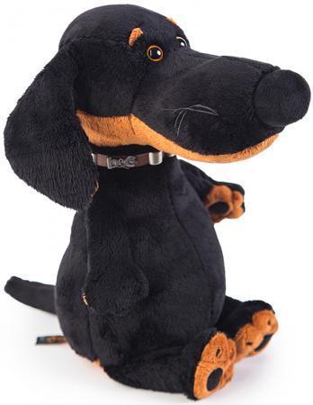 Мягкая игрушка собака BUDI BASA Ваксон в ошейнике 27 см коричневый искусственный мех пластик текстиль budi basa мягкая игрушка арнольд