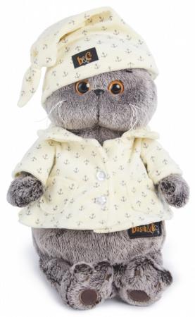 Мягкая игрушка кот BUDI BASA Басик в пижаме 30 см серый текстиль искусственный мех Ks30-024 мягкая игрушка басик в пижаме 30 см