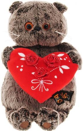 Мягкая игрушка кот BUDI BASA Басик с красным сердечком 22 см серый искусственный мех Ks22-060