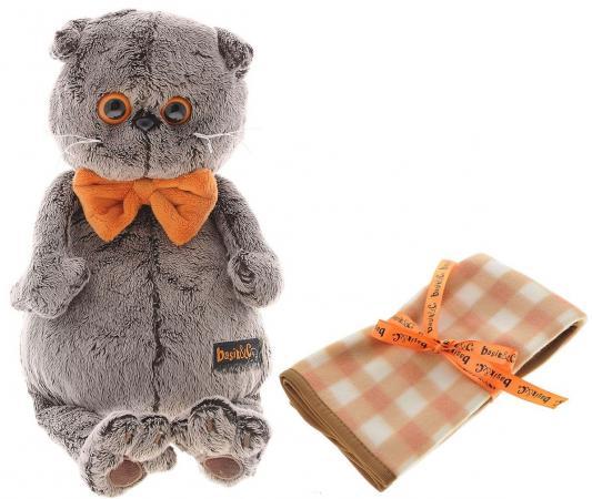 Мягкая игрушка кот BUDI BASA Басик с пледом 25 см серый искусственный мех Ks25-034
