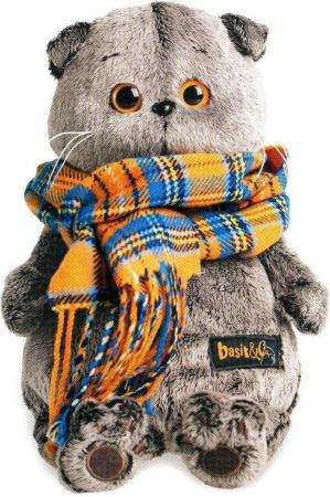 Мягкая игрушка кот BUDI BASA Басик и шарф в клеточку 30 см серый искусственный мех Ks30-002