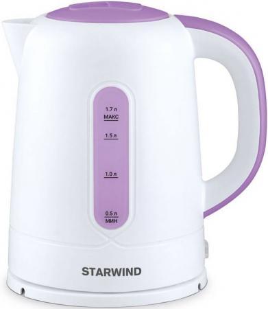 Чайник StarWind SKP3557 2200 Вт белый фиолетовый 1.7 л пластик весы starwind весы напольные starwind ssp2355