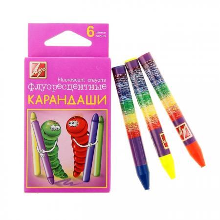 Масляные карандаши ЛУЧ Флуоресцентные 6 штук 6 цветов карандаши восковые мелки пастель луч карандаши масляные кроха 6 цветов