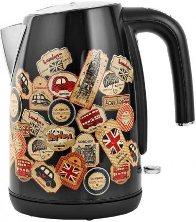 Чайник Polaris PWK 1882CA London 2200 Вт чёрный рисунок 1.8 л металл/пластик чайник polaris pwk 1749ca 2200 вт бордовый 1 7 л нержавеющая сталь