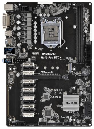 Материнская плата ASRock H110 Pro BTC+ Socket 1151 H110 2xDDR4 1xPCI-E 16x 12xPCI-E 1x 4xSATAIII ATX Retail