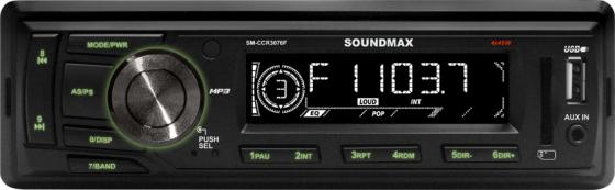 Автомагнитола Soundmax SM-CCR3076F USB MP3 FM SD MMC 1DIN 4x45Вт черный soundmax sm ccr3076f