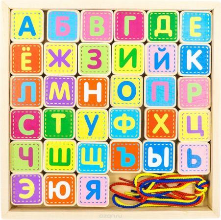 Шнуровка Alatoys Шнуровка азбука, 33 детали, 4 шнурка, 265*225*25