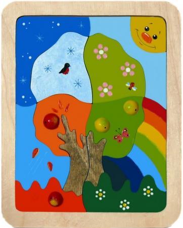 Мозайка-вкладыш Крона Времена года 13 деталей 153-002 мозайка вкладыш крона попугай 29 деталей деревянная 143 017