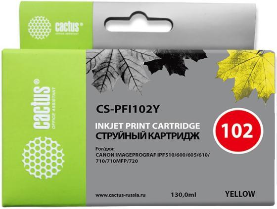 Картридж Cactus CS-PFI102Y для Canon IP iPF500/iPF600/iPF700/MFP M40/iPF765/LP17/LP24 желтый maintenance tank waste ink box chip resetter for canon ipf755 ipf500 ipf510 ipf600 ipf610 ipf700 ipf710 printer