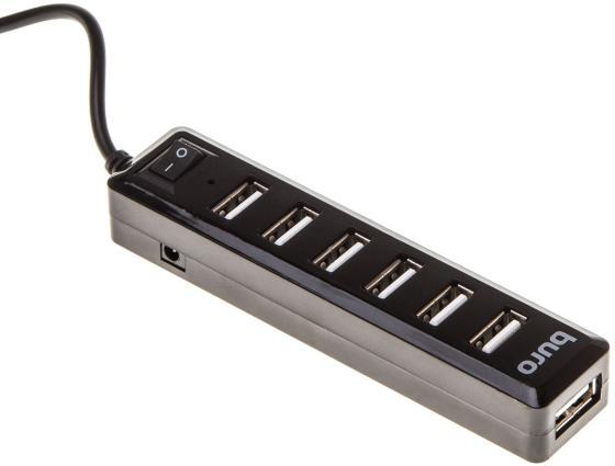 Концентратор USB 2.0 BURO BU-HUB7-1.0-U2.0 7 x USB 2.0 черный цена и фото