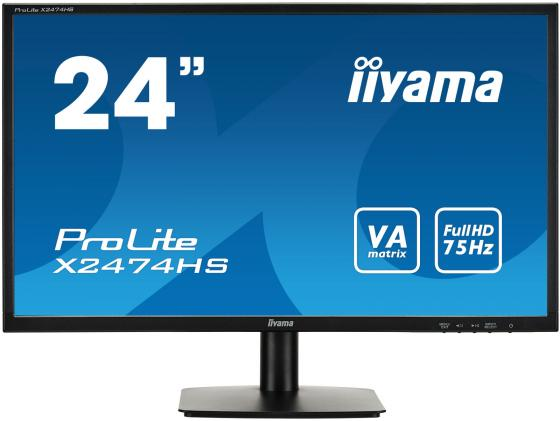 Монитор 23.6 iiYama X2474HS-B1 черный VA 1920x1080 250 cd/m^2 4 ms HDMI DisplayPort VGA монитор 27 samsung c27f591fdi серебристый va 1920x1080 250 cd m^2 4 ms hdmi displayport vga аудио