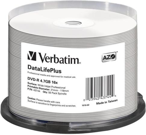 Диски DVD-R Verbatim 16x 4.7Gb Cake Box 50шт Printable 43744 стоимость