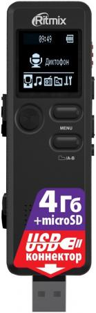 Цифровой диктофон Ritmix RR-610 4Гб черный ritmix ritmix rf 7200 фиолетовый 4гб
