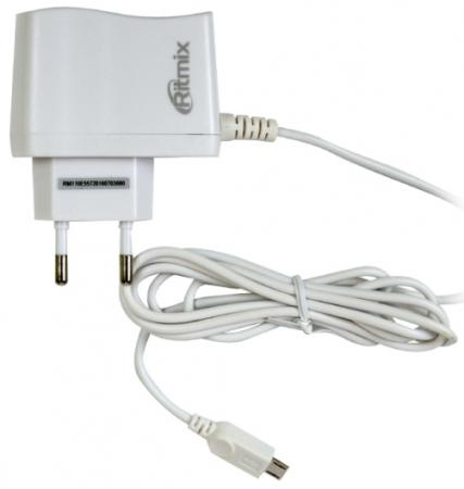 Сетевое зарядное устройство Ritmix RM-110 1A microUSB белый ritmix rm 118 сетевое зарядное устройство