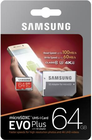 Карта памяти Micro SDXC 64Gb Class 10 Samsung EVO Plus V2 MB-MC64GA + SD adapter смартфон htc 10 evo 64gb gunmetal