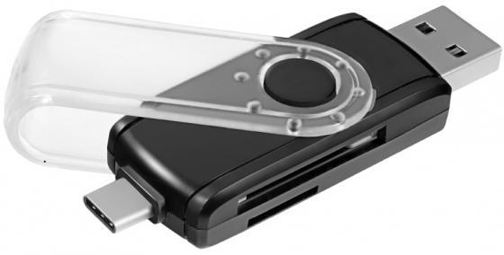 Картридер внешний Ginzzu GR-588UB USB 3.0/OTG Type C черный картридер внешний ginzzu gr 325b черный