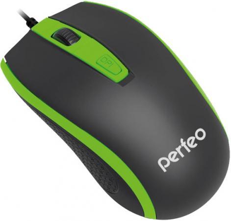 Мышь проводная Perfeo Profil чёрный зелёный USB PF-383-OP-B/GN мышь проводная perfeo pf 353 op or чёрный оранжевый usb