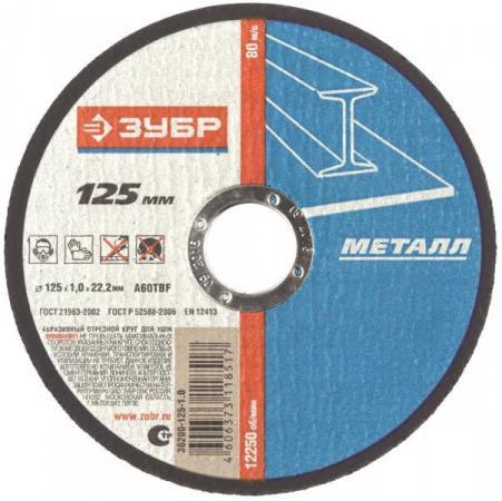 Круг отрезной ЗУБР Профессионал абразивный 125х1х22.23мм по металлу 36200-125-1.0_z02 цены