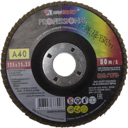 Круг лепестковый торцевой абразивный Луга для шлифования 125х22.23мм зерно P40 3656-125-40