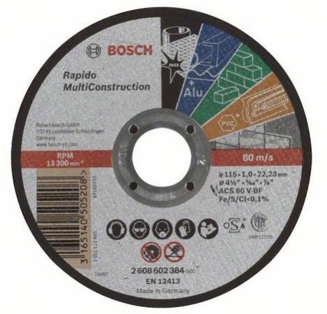 Отрезной круг Bosch 115x1мм 2608602384 отрезной круг bosch 230х2 5ммх22 23мм 2608600225