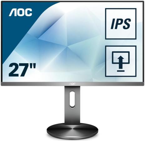 Монитор 27 AOC I2790PQU/BT черный IPS 1920x1080 250 cd/m^2 4 ms DisplayPort HDMI DVI VGA USB монитор 25 aoc q2577pwq серебристый ips 2560x1440 350 cd m^2 5 ms vga dvi hdmi displayport