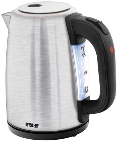 Чайник MYSTERY MEK-1644 2000 Вт серебристый чёрный 1.7 л металл/пластик чайник mystery mek 1609 2000 вт 1 7 л нержавеющая сталь бежевый