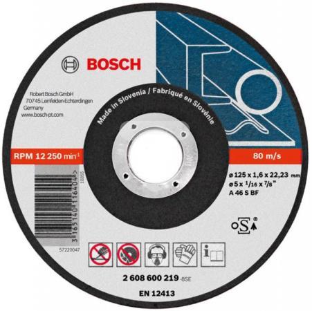 Отрезной круг Bosch 125x1.6мм 2608600219 отрезной круг bosch 230х2 5ммх22 23мм 2608600225