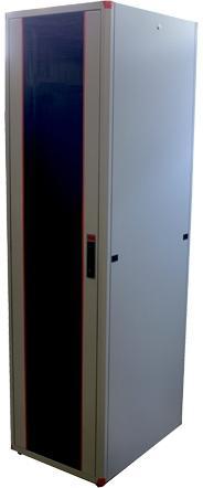 """Шкаф напольный 19"""" 42U Estap EVL70142U6080GF1R1 600x800mm передняя дверь одностворчатая стекло с металлической рамой слева и справа задняя дверь одностворчатая металлическая серый"""