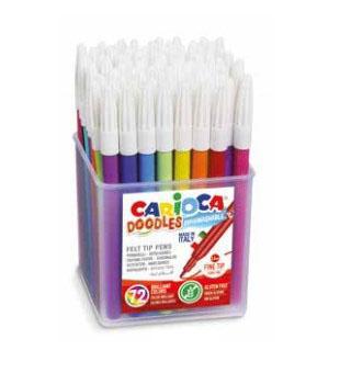 Набор фломастеров CARIOCA Doodles 42261 72 шт разноцветный carioca набор смываемых восковых карандашей baby 8 цветов