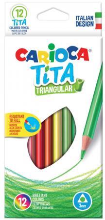 Набор цветных карандашей CARIOCA TITA 12 шт 42786 набор цветных карандашей universal carioca 24 шт 17 5 см односторонние 40381 точилка 40381