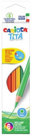 Набор цветных карандашей CARIOCA TITA 6 шт 174 мм 42792 carioca набор крупных цветных карандашей tita maxi 6 цветов