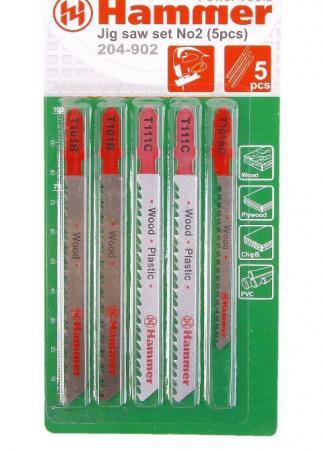 Лобзиковая пилка Hammer Flex 204-902 JG WD-PL set No2 дерево\\пластик 3 вида 5шт 30579 набор буров hammer 201 902 dr sds set no2
