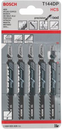 Лобзиковая пилка Bosch T 144 DP HCS 5шт 2608633A35 пилка лобзиковая t 1013 awp 3 шт hcs hawera f00y266257