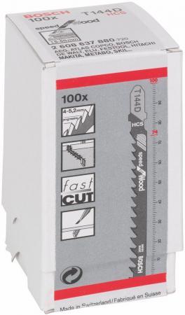 Лобзиковая пилка Bosch T 144 D HCS 100шт 2608637880 пилка лобзиковая t 1013 awp 3 шт hcs hawera f00y266257