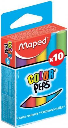 Набор мелков Maped COLOR PEPS 10 штук 10 цветов от 4 лет цветные карандаши maped color peps в металлической коробке 12 цветов