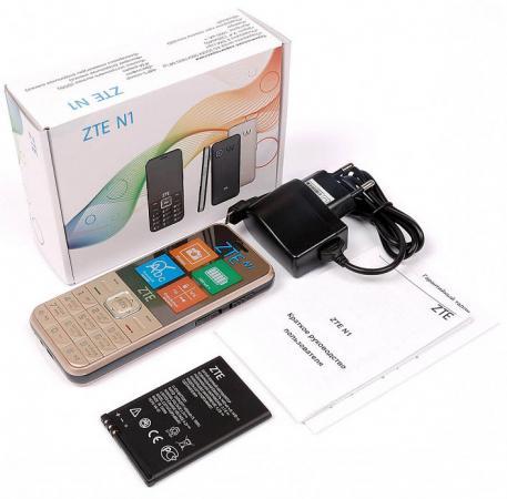 Мобильный телефон ZTE N1 золотистый 2.4 мобильный телефон zte f327 белый