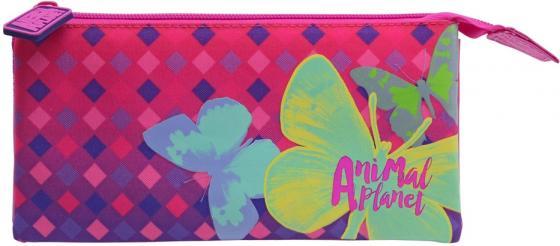 Пенал косметичка Action! Animal Planet. Бабочки AP-APC4216/1/17 пенал на трех молниях action animal planet ap pc03 03