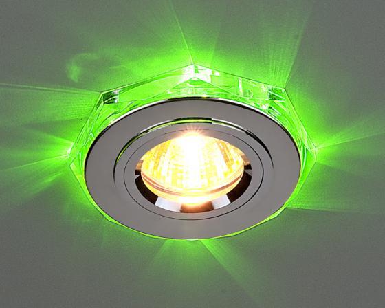 Встраиваемый светильник с двойной подсветкой Elektrostandard 2020 MR16 хром/зеленый 4607176194760 встраиваемый светильник с двойной подсветкой 2020 mr16 хром белый 4690389007491 elektrostandard 1168587