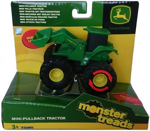 Трактор Tomy Monster Treads 10 см зеленый машинки tomy машинка tomy john deere реверсивные monster treads