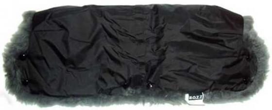 Муфта для коляски из овчины с длинным ворсом Bozz (черный\\серый/20-2018-3) конверт детский bozz конверт из стриженной овчины черный серый