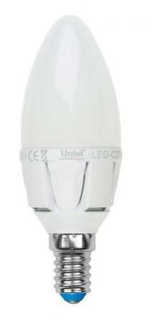 Лампа светодиодная свеча Uniel LED-C37 7W/WW/E14/FR PLP01WH E14 7W 3000K светодиодная лампа uniel led c37 6w ww e27 fr alm01wh